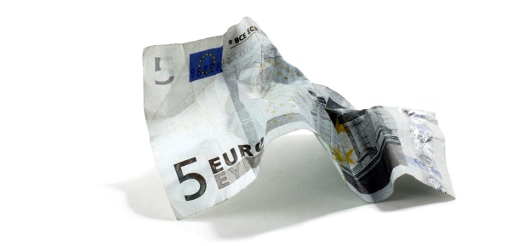 Crumpled 5 euro note 730 by 350